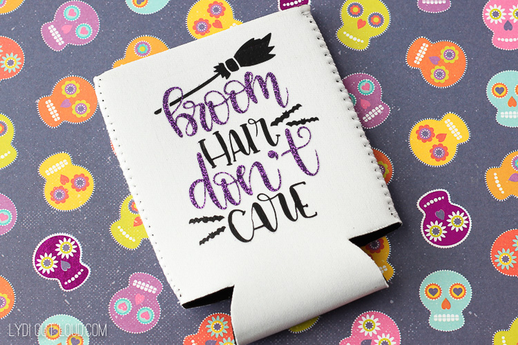 """Broom Hair Don't Care"" Haha! So cute for a Halloween koozie design!"