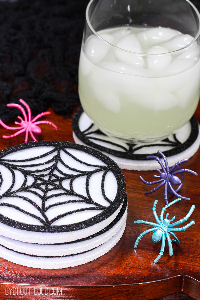 DIY Spiderweb Coasters and Wine Charms - so fun for a party or for neighbor BOO gifts!