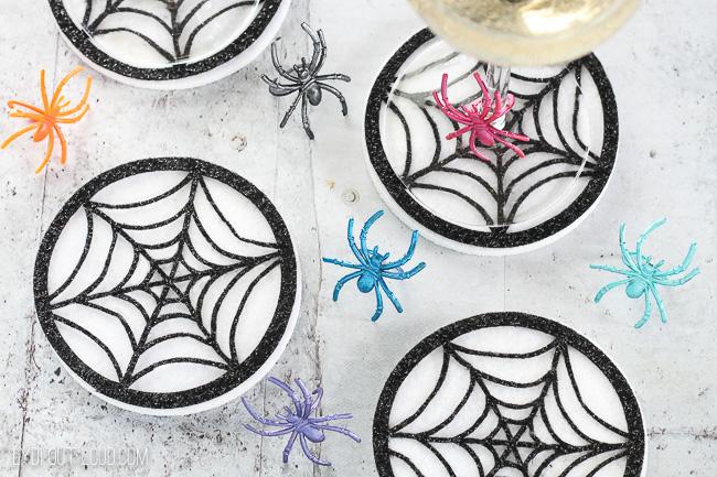 DIY Spiderweb Coasters - so fun and easy to make with the Cricut Maker! #CricutMade #CricutMaker