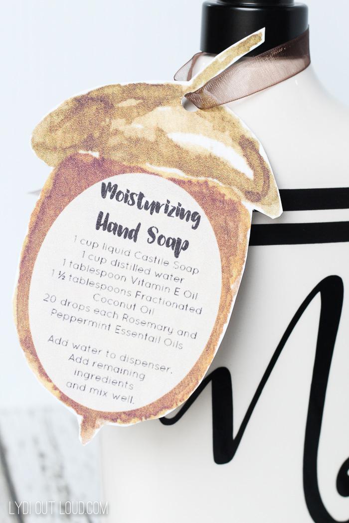 handmade hand soap printable tag