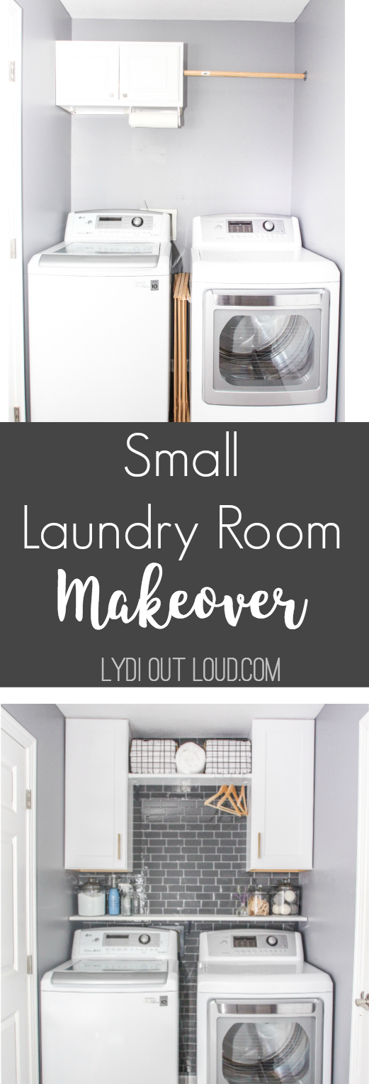 Small laundry room makeover in a day (and on a budget!) via @lydioutloud