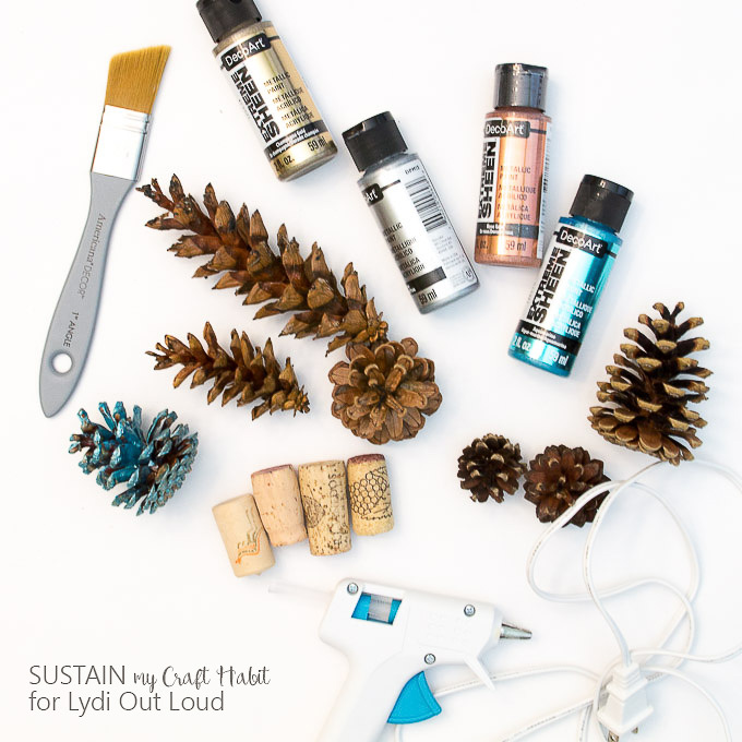 Metallic painted pine cone supplies