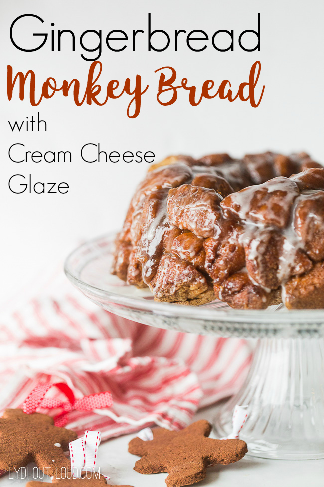 Gingerbread Monkey Bread with Cream Cheese Glaze #monkeybread #gingerbreadrecipes #monkeybreadrecipes #gingerbreadmonkeybread