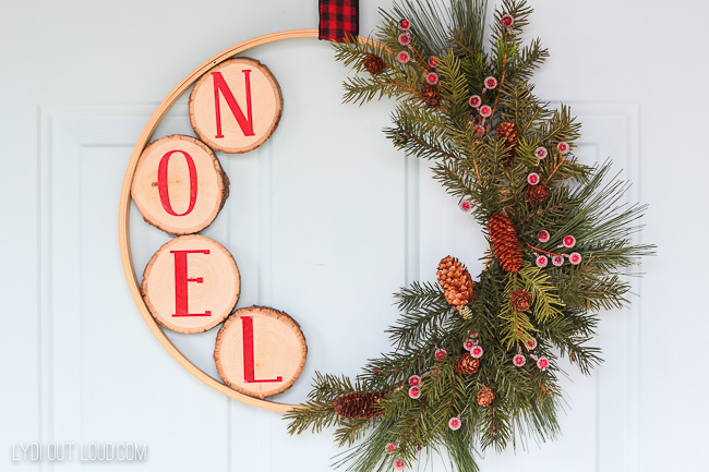 DIY Christmas Embroidery Hoop Wreath with Wood Slices
