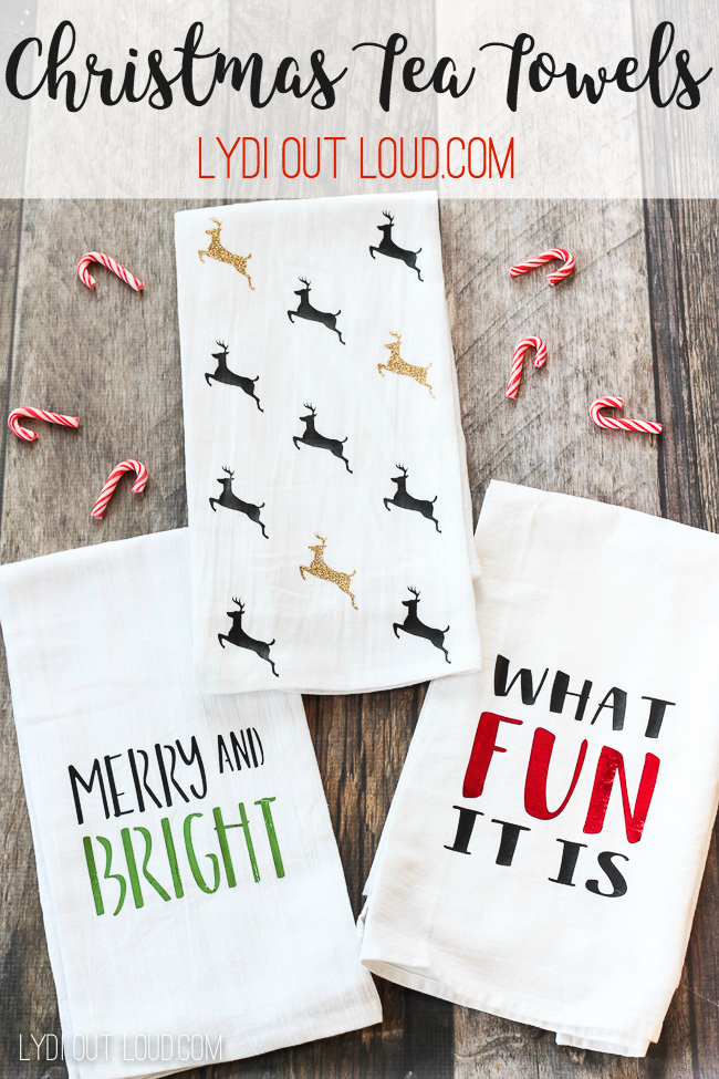 DIY Christmas Tea Towels #Christmasteatowels #ironon #Christmasdecor #christmasgiftideas via @lydioutloud