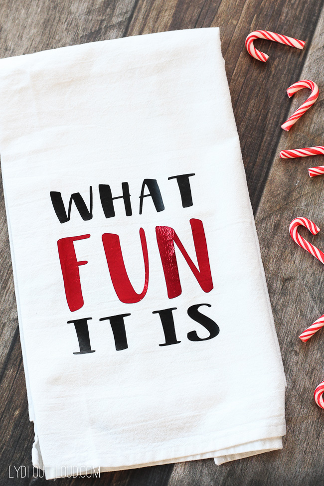 What Fun It Is Christmas Tea Towel #christmasdecor #christmasgiftideas #cricut