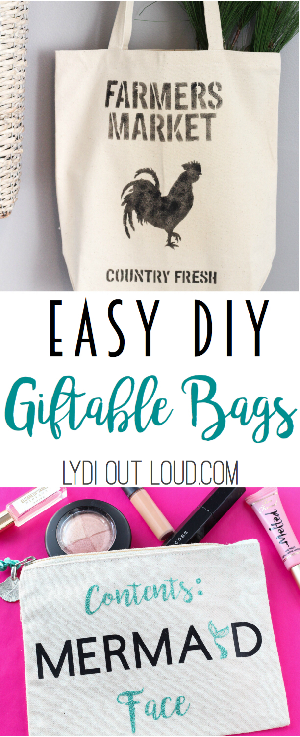 Giftable bags #diymakeupbag #diygiftideas #mermaid #farmhouse via @lydioutloud