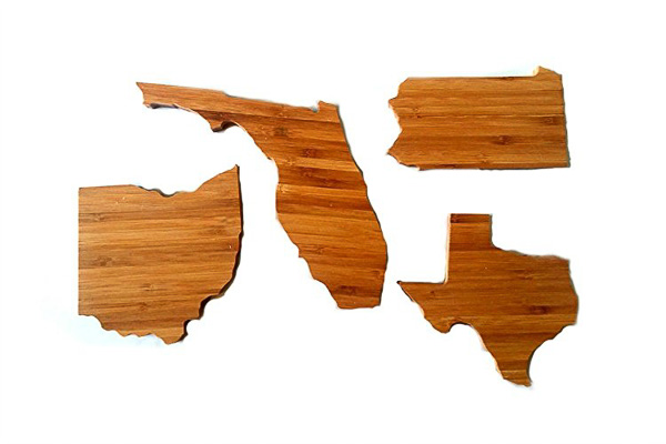 Bamboo State Shaped Coasters