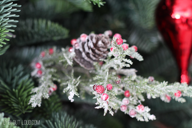 Christmas tree with flocked pine cones