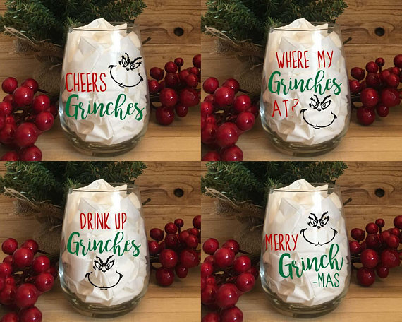 Grinch Wine Glasses - White Elephant Gift Ideas