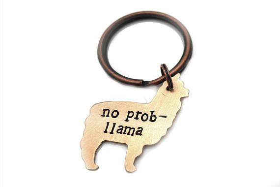 No Prob-llama Pun Keychain