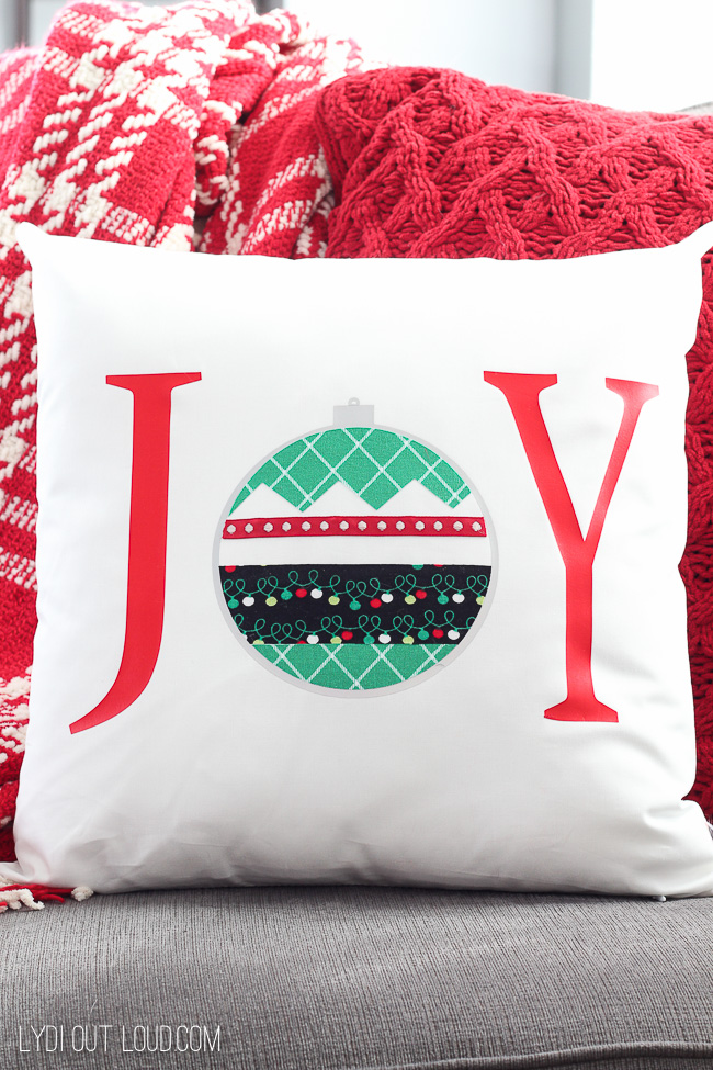JOY DIY Christmas Pillow #christmasthrowpillows #diychristmasdecor #nosew