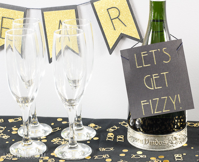 Let's Get Fizzy Champagne Bottle Sign #NewYearsparty #newyearseve #diypartydecoration