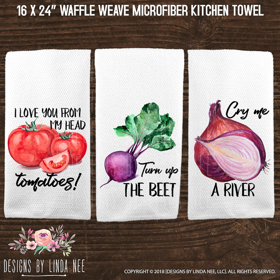 Punny Kitchen Towels pun gift ideas