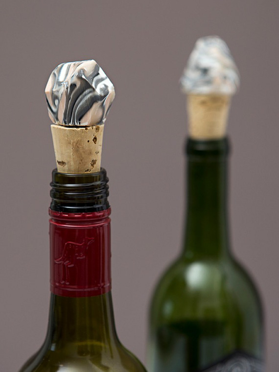 Marbled Clay Gemstone Wine Stopper