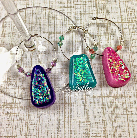 DIY Glittery Resin Wine Charms