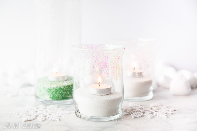 Glittered Winter Candle Holders