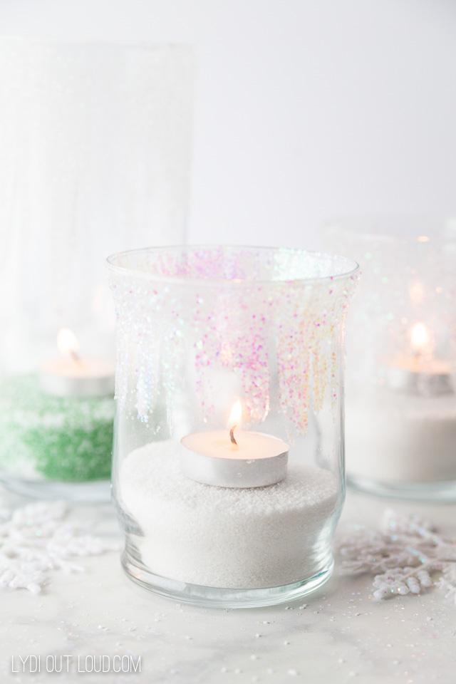 Winter Glitter Candleholders #winterdecor #diyhomedecor #diyweddingdecor