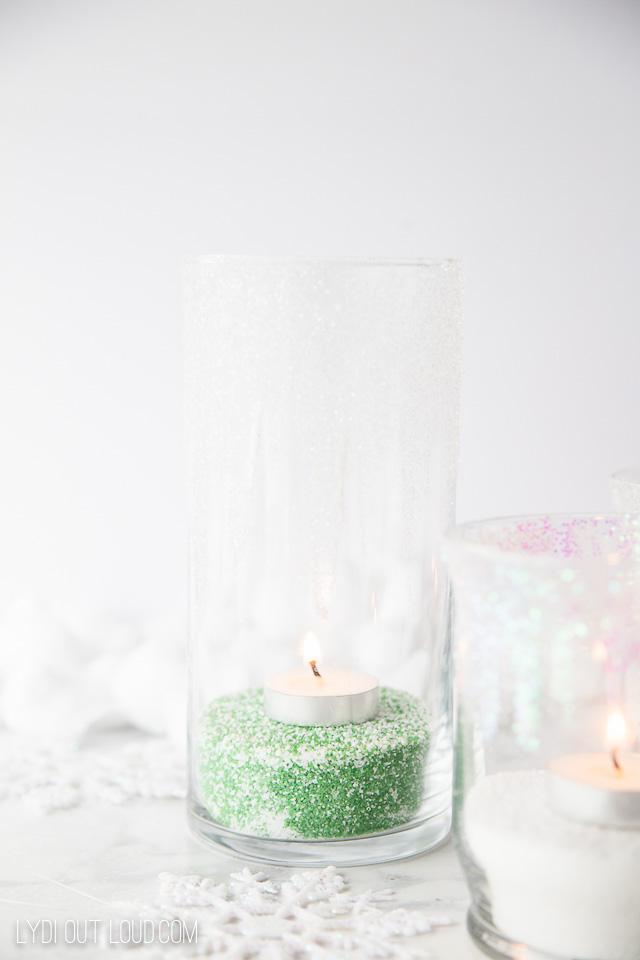 Glitter Icicle Candle Holders #modpodge #christmasdecor #diyhomedecor #diycandleholders