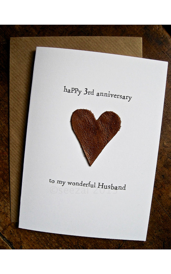 3rd Anniversary Leather Heart Card 3yearanniversarygifts Anniversarygifts Leathergifts Giftsforhim