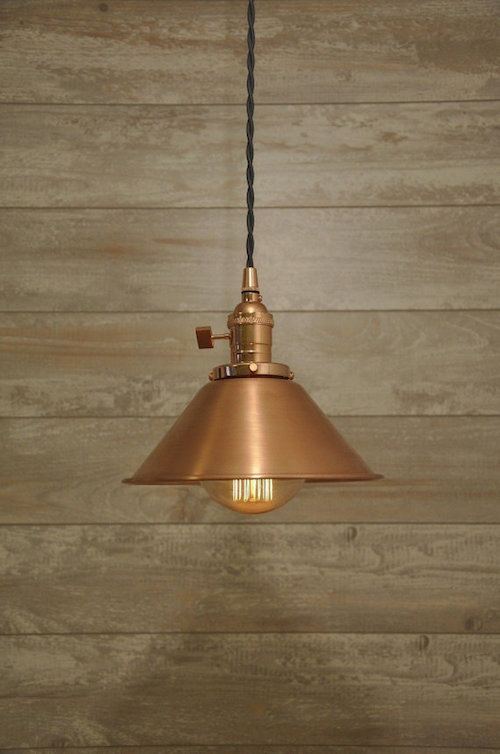 brushed copper cone shade pendant light
