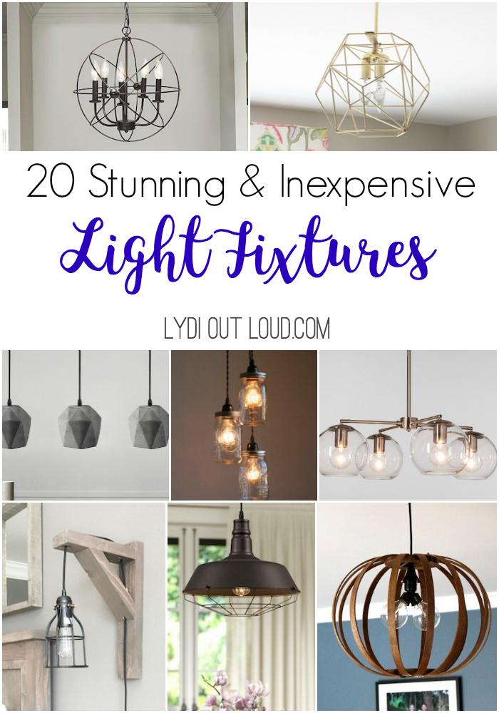 20 Stunning and Inexpensive Light Fixtures to DIY or Buy #lightfixtures #diylights #diylightfixtures #homedecor via @lydioutloud