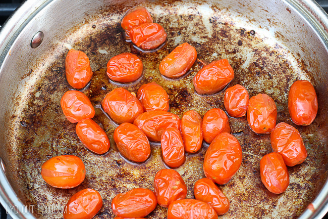 Roasted tomatos for shrimp penne pasta