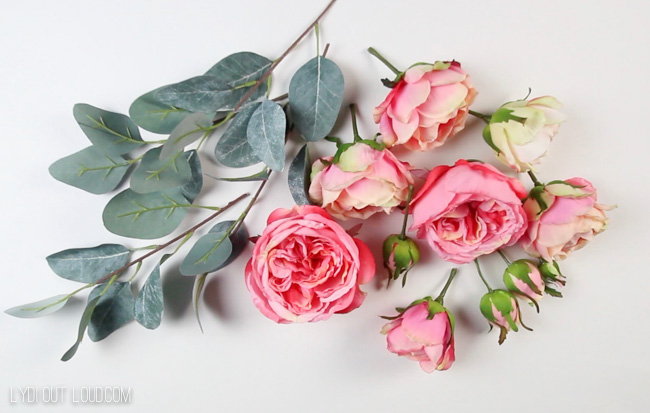 English roses for Valentine's Day wreath