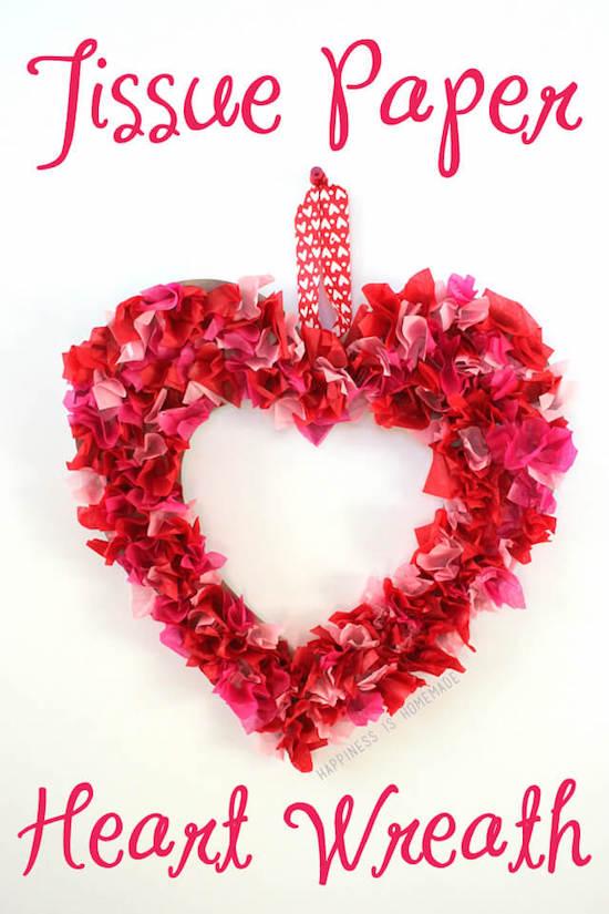 Tissue Paper Heart Wreath