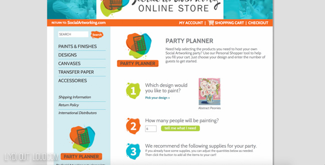 Social Artworking Party Planner