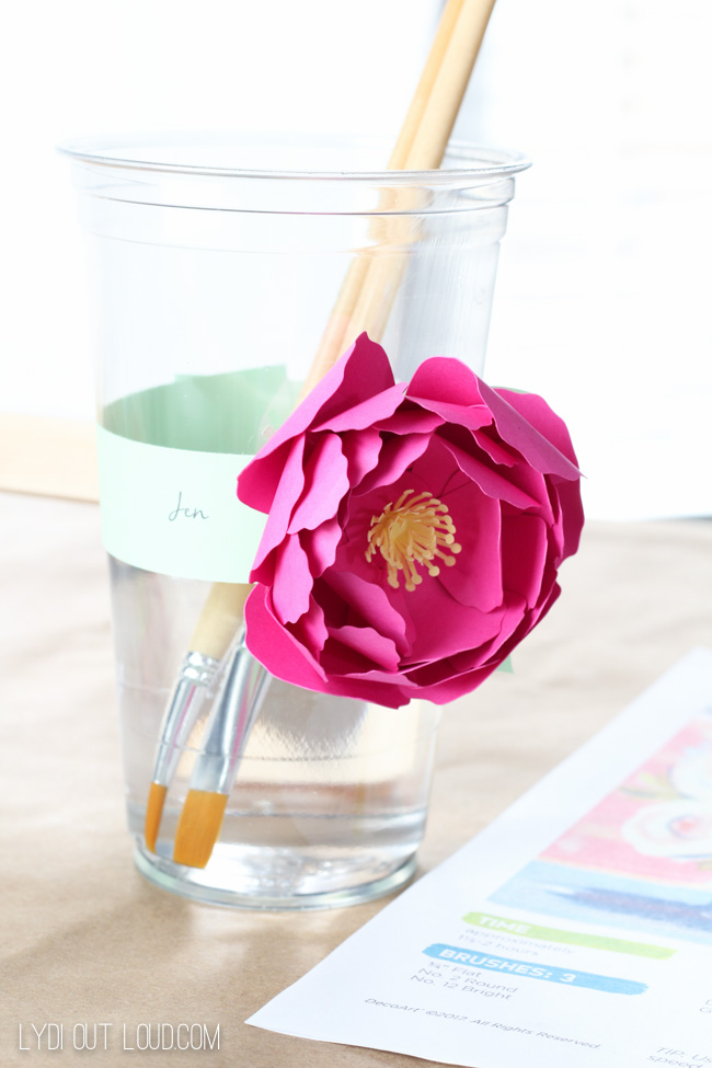 Paper flowers paint brush cup