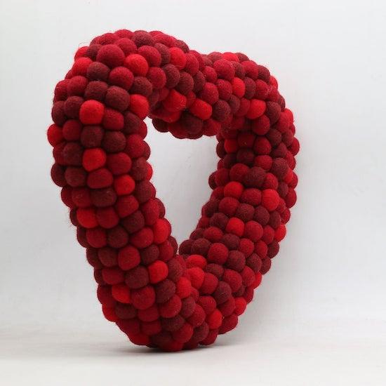 Felted Ball Heart Wreath