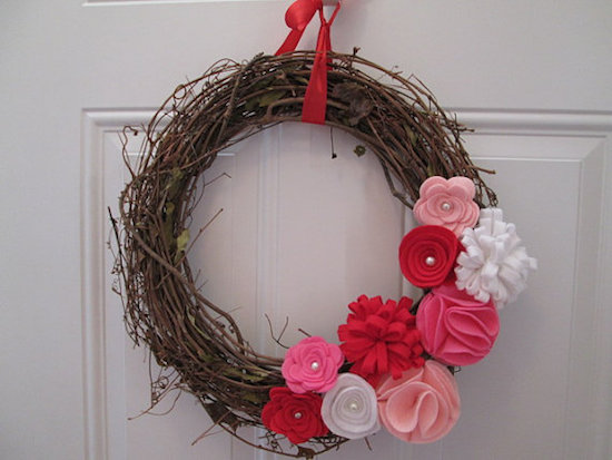 Grapevine Felt Flower Wreath