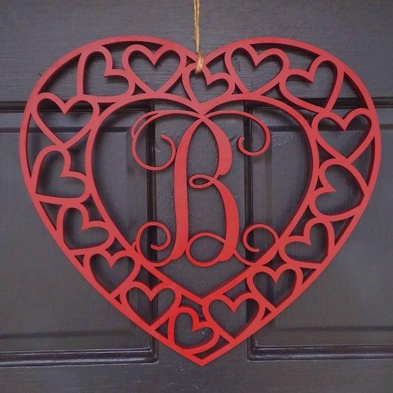 Heart monogram door hanger