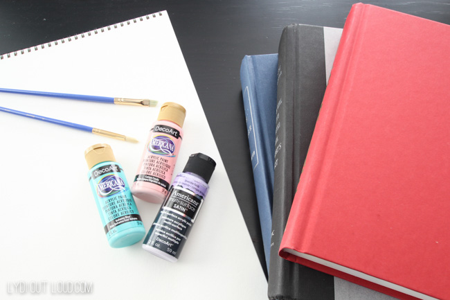 Supplies for painting decorative book covers