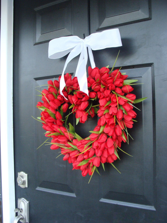 Red tulip wreath for Valentine's Day