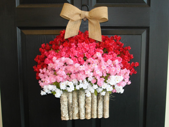 Red, white and pink floral wreath