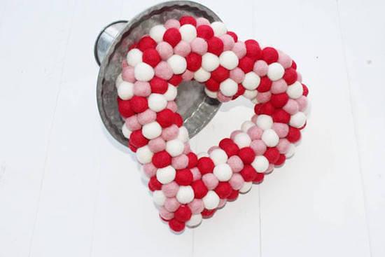 Felted Wool Ball Heart Wreath