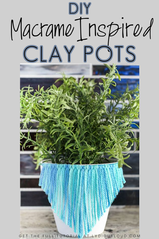 Macrame Inspired Clay Pots #macrame #diyplanters #herbplanter via @lydioutloud