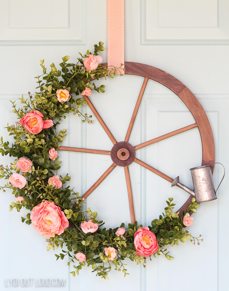 Farmhouse Wagon Wheel Spring Wreath