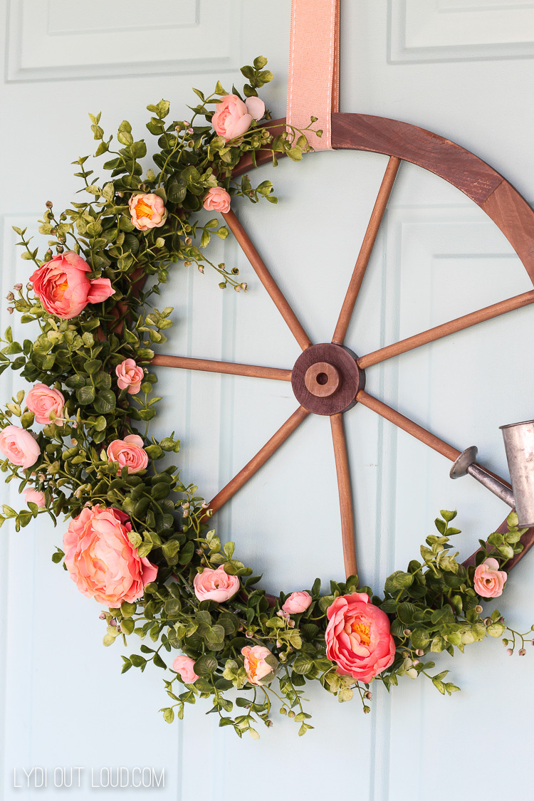 Wagon Wheel Farmhouse Style Wreath Door Decor
