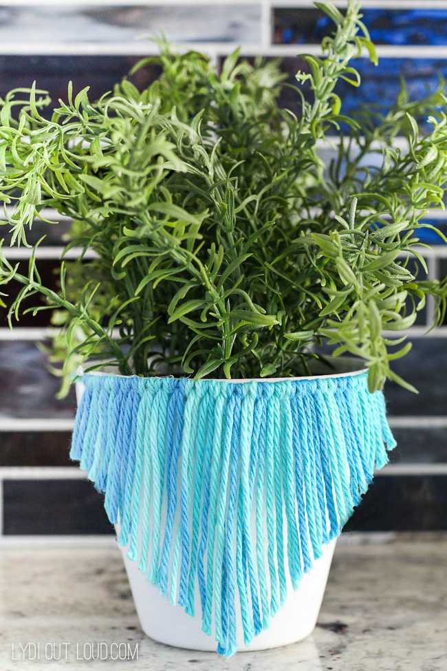 Macrame Inspired Clay Pots #macrame #diyplanters #herbplanter