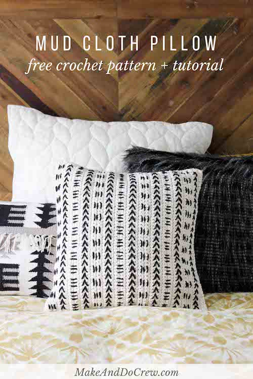 Mud Cloth Crochet Pillow