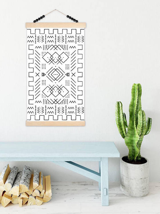 Mudcloth Canvas Wall Hanging