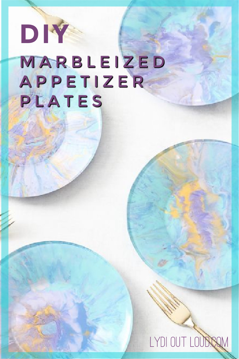 Beautiful DIY marbled appetizer plates made with the dirty pour acrylic paint pouring technique! #paintpouring #marbled #partyplates via @lydioutloud