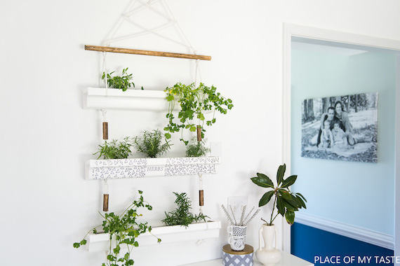 DIY Gutter Hanging Herb Planter by A Place of My Taste