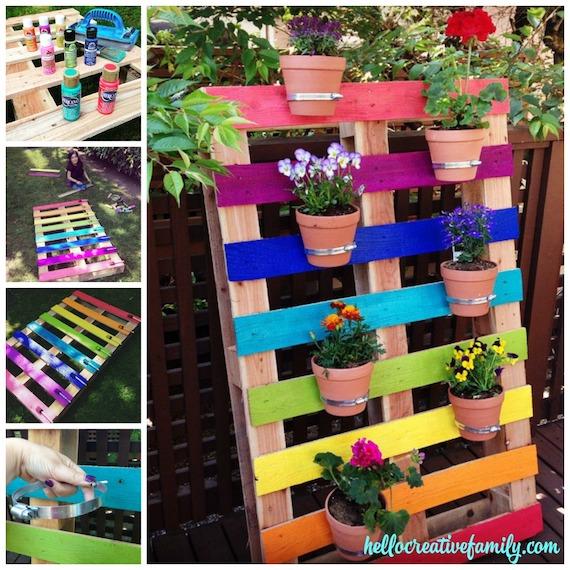 Rainbow Pallet Wall Garden