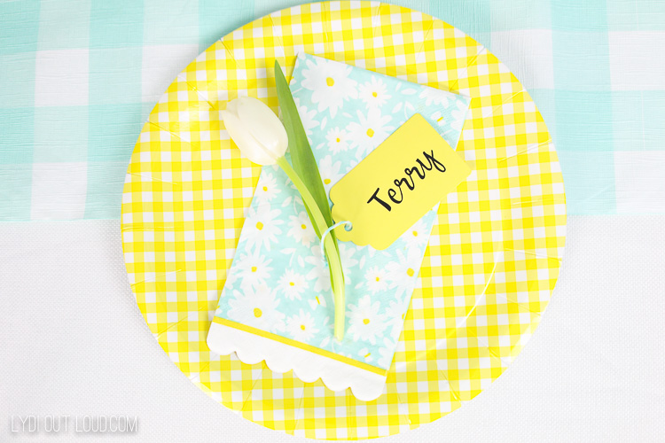 Mint and Yellow Baby Shower Place Setting