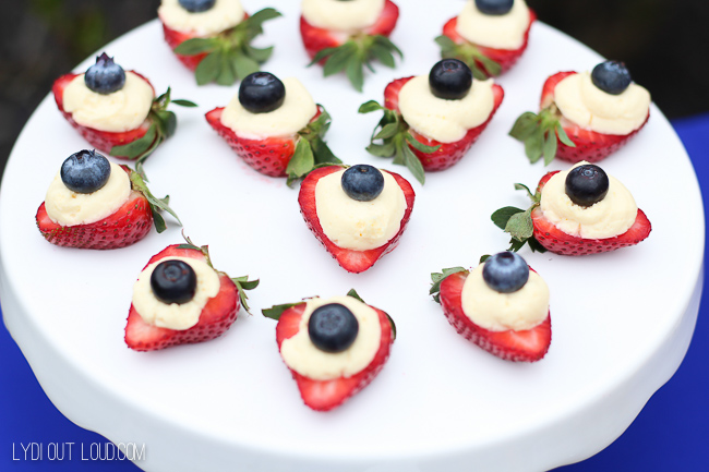 Red, white and blue strawberry cheesecakes
