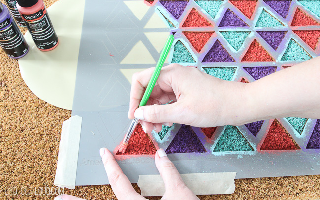 DIY Stenciled Geometric Painted Doormat